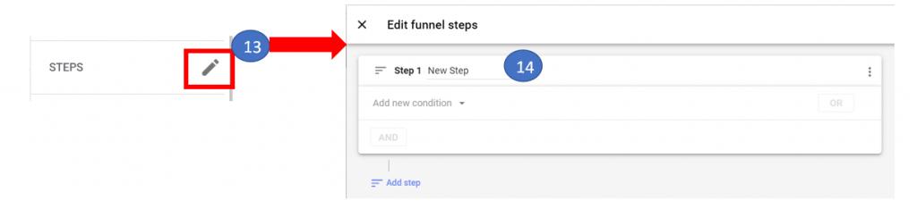 9 Edit funnel steps in GA4