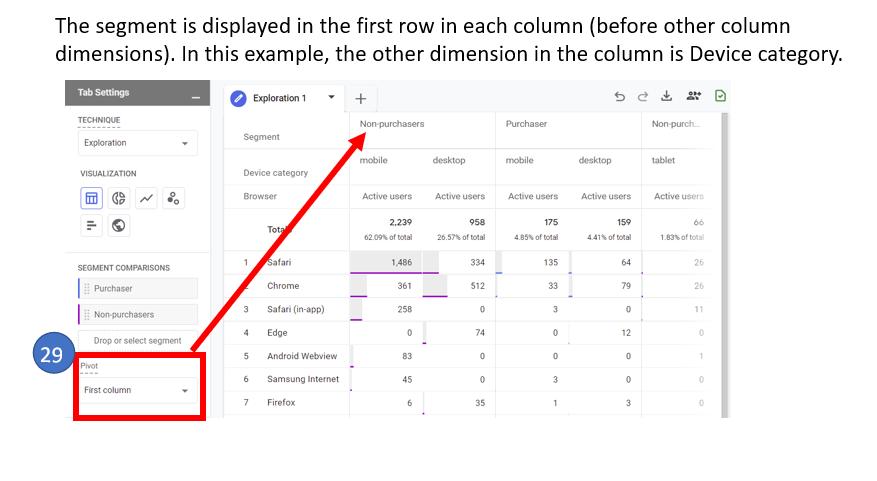 13. Segment in first column in exploration report in Google Analytics 4