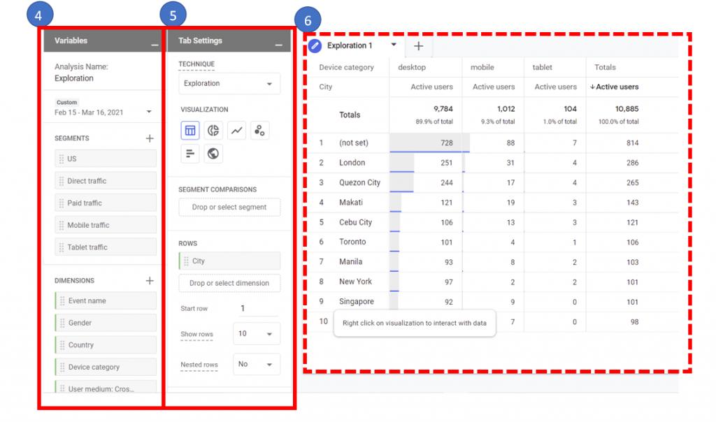 2. The exploration report in Google Analytics 4