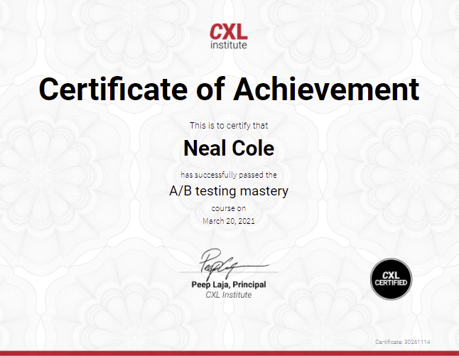 AB Testing Mastery Certificate from CXL Institute