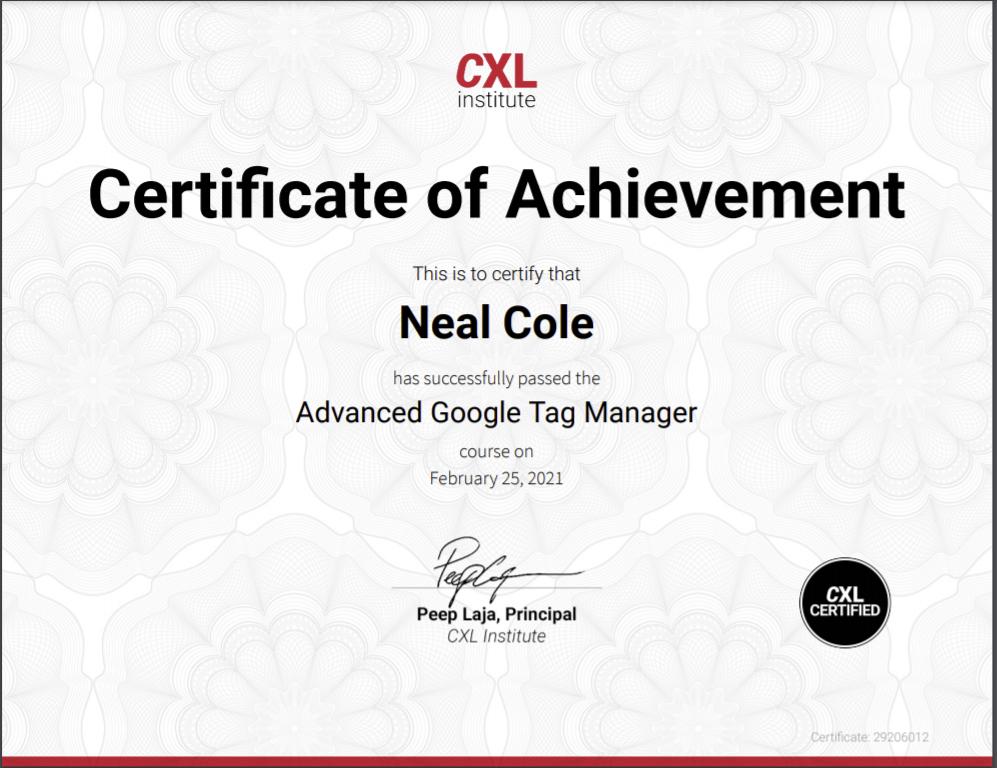 CXL Institute Advanced GTM Certificate image