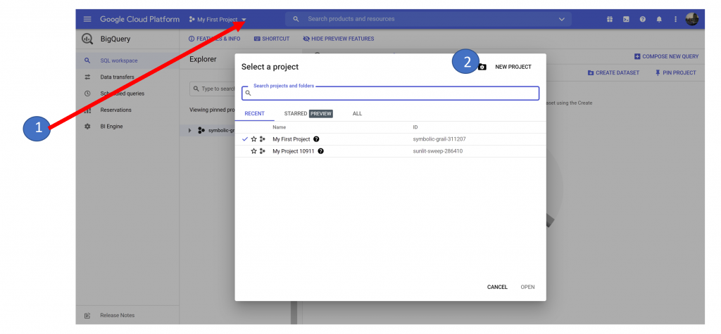 1. New Project in BigQuery