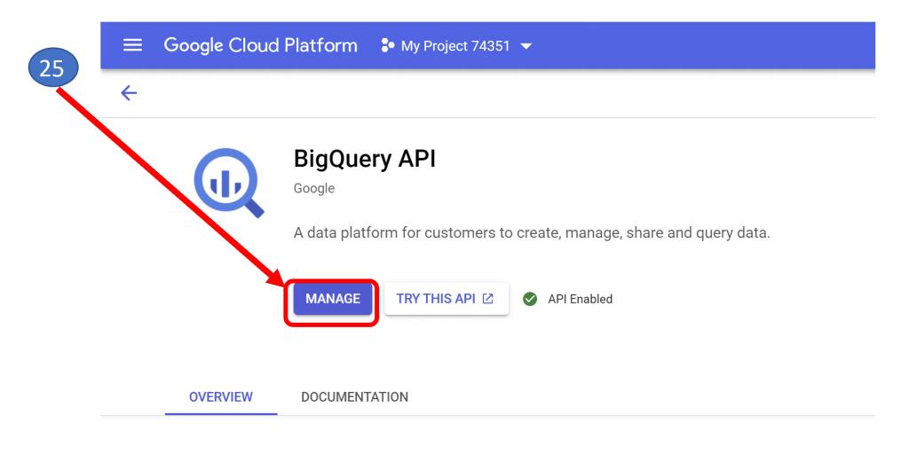 18. Manage BigQuery API