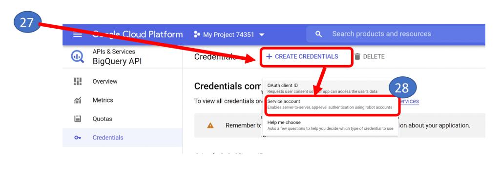 20. Create Credentials in BigQuery