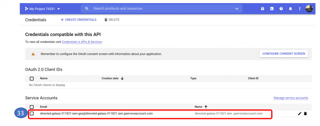23. Login to BigQuery and Select Service Account