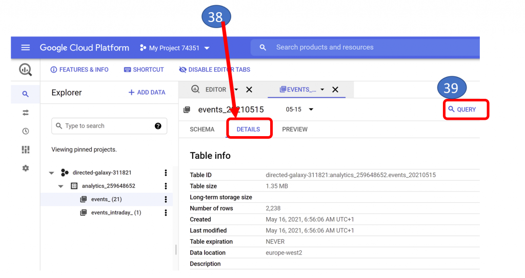 26. BigQuery Project Details and Query