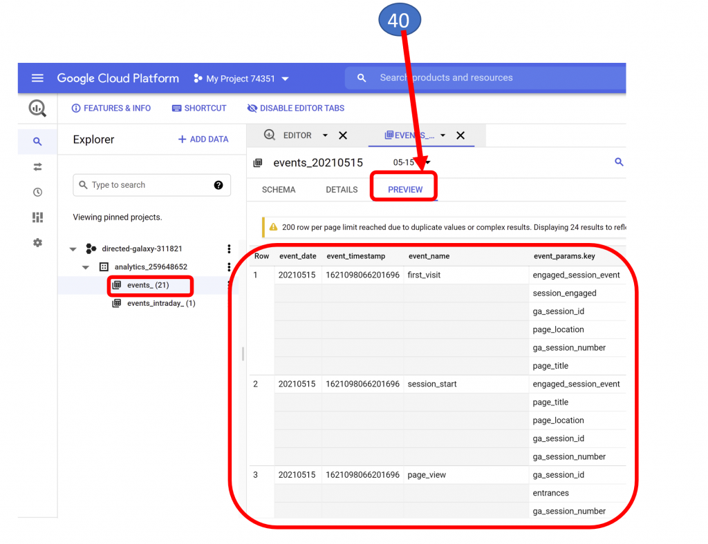 27. BigQuery Analytics Project - Events - Preview