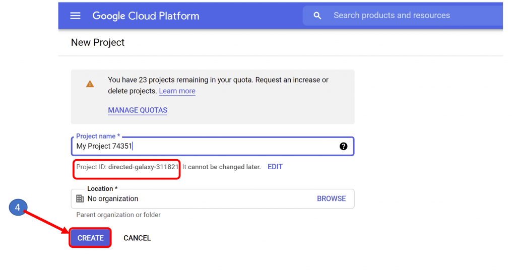 3 Create Project in Big Query